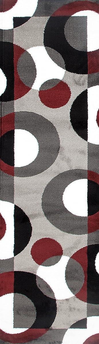 """Rugshop Modern Circles Area Rug Runner, 2 x 72"""", Burgundy"""