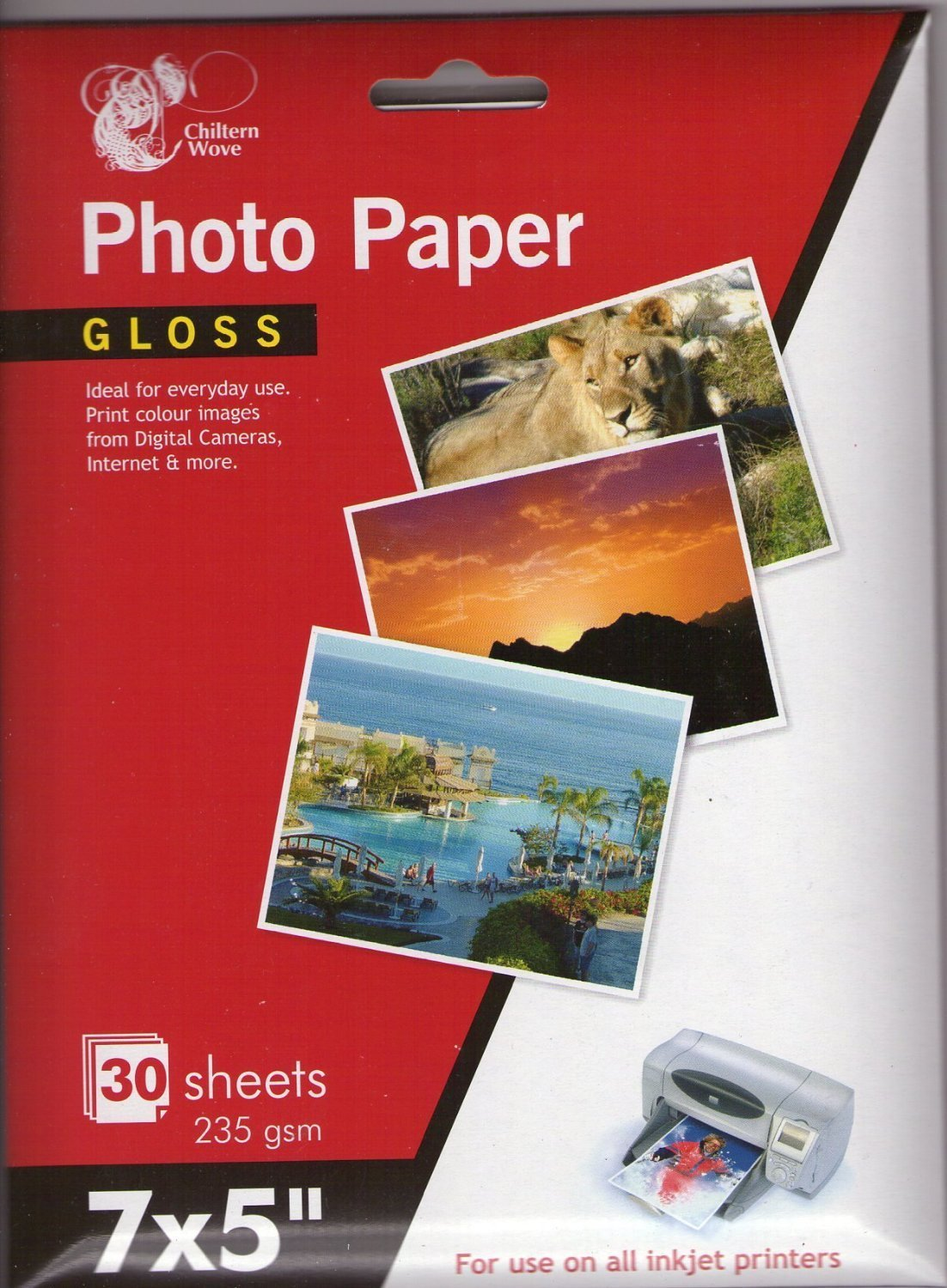50, 100, 200 Sheets Inkrite 7x5 210gsm Single Sided Gloss Photo Paper