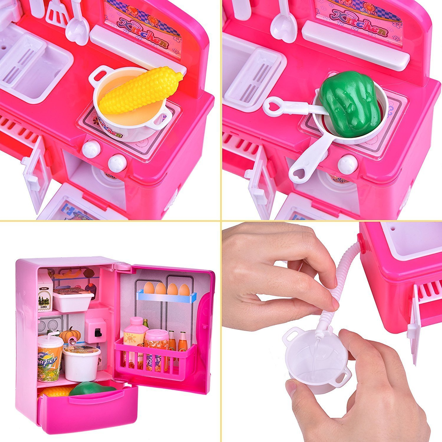 19 PCs Kitchen Appliance Toys with Kitchen, Refrigerator, Pot and Tableware, Pretend Play Set for Kids, Play Kitchen Appliance by FUN LITTLE TOYS (Image #5)