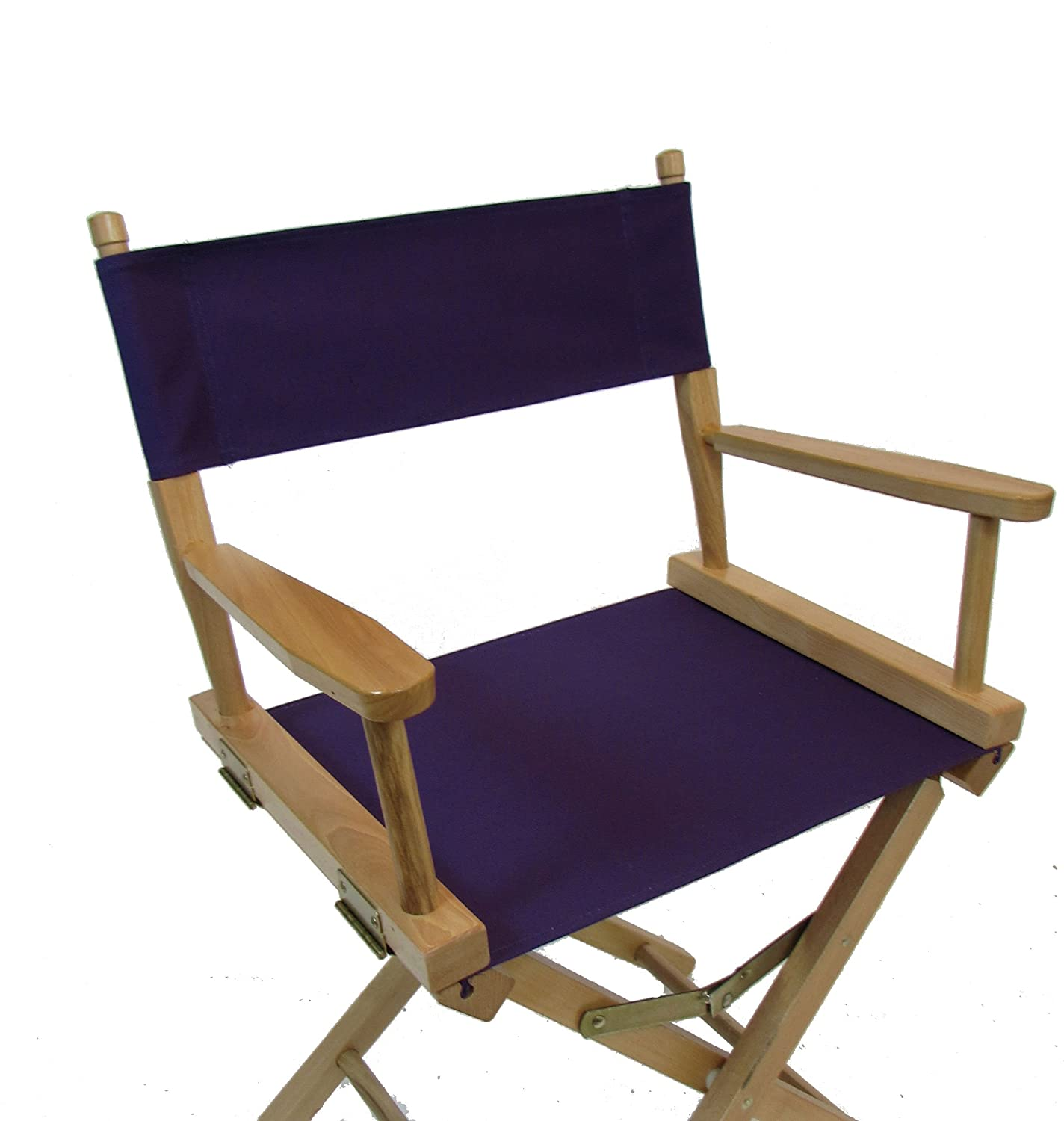 PERSONALIZED IMPRINTED Gold Medal Contemporary 24 Counter Height Natural Frame Directors Chair – Purple