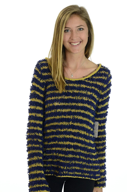 Free People Yellow Striped Women's Medium Knit Sweater Blue M