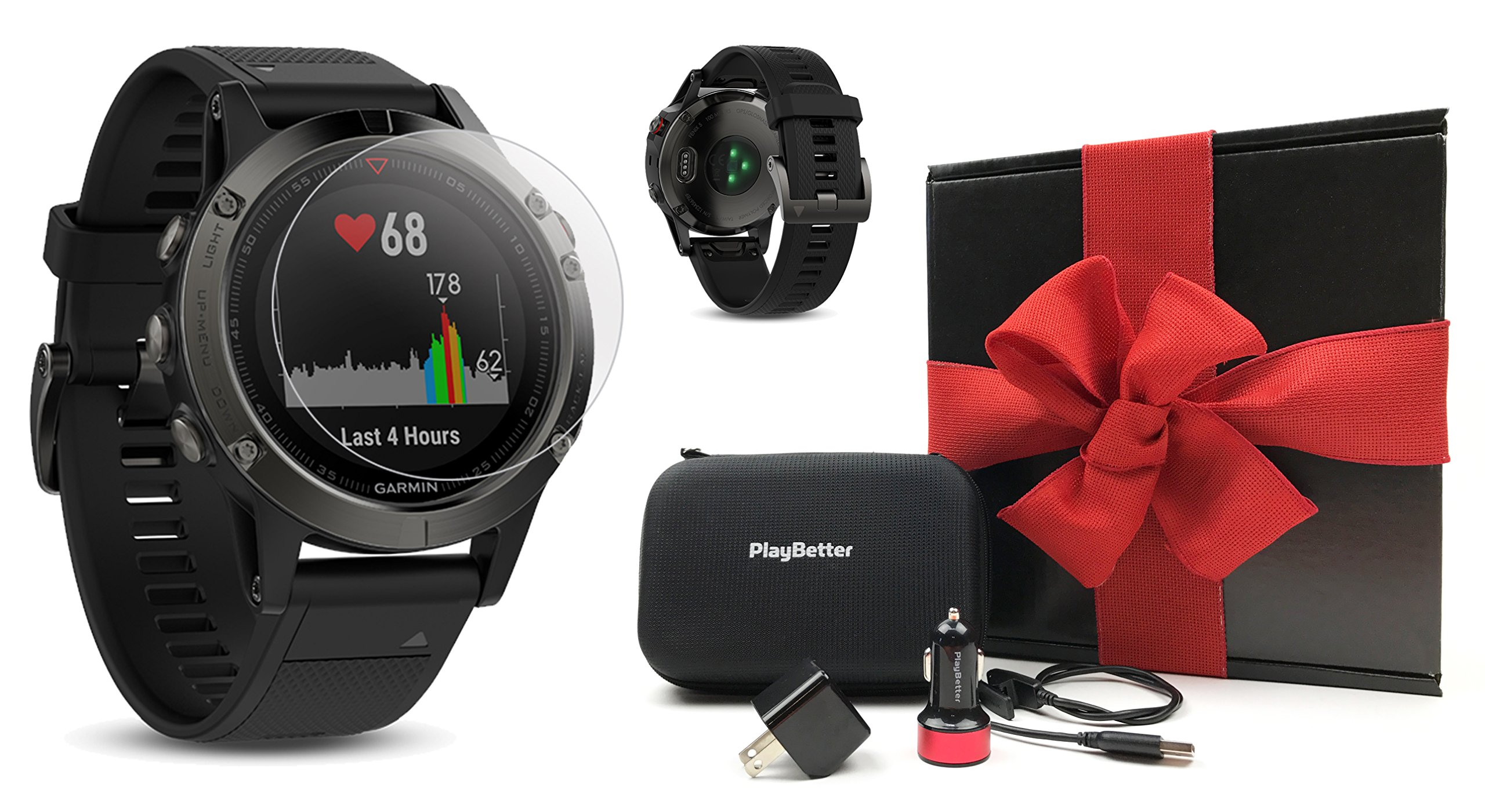 Garmin fenix 5 (Slate Gray with Black Band) GIFT BOX Bundle | Includes Glass Screen Protector, PlayBetter USB Car/Wall Adapter & Hard Carrying Case | Multi-Sport GPS Watch with Wrist-Heart Rate by PlayBetter (Image #1)