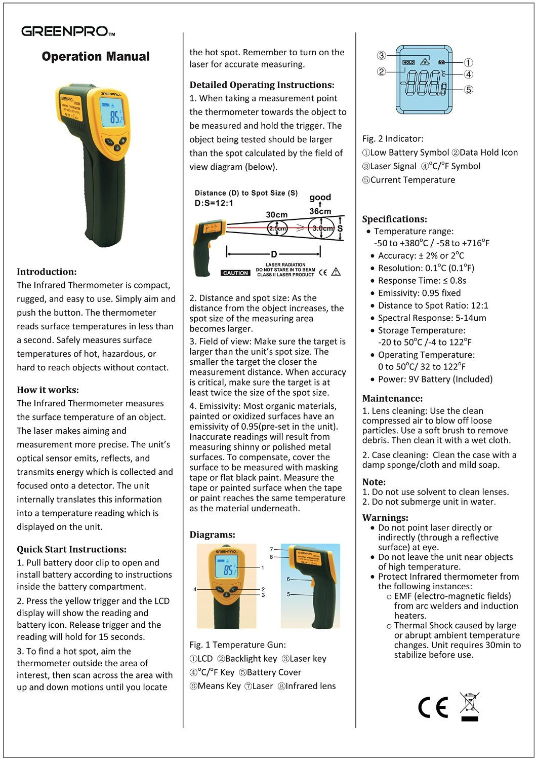 Greenpro Temperature Gun Non-Contact Infrared Thermometer (Black/Yellow)