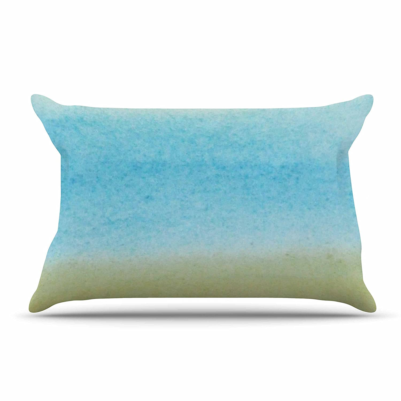 Kess InHouse Jennifer Rizzo Watercolor Paint Stripe Blue TanFeatherweight Sham 30 X 20