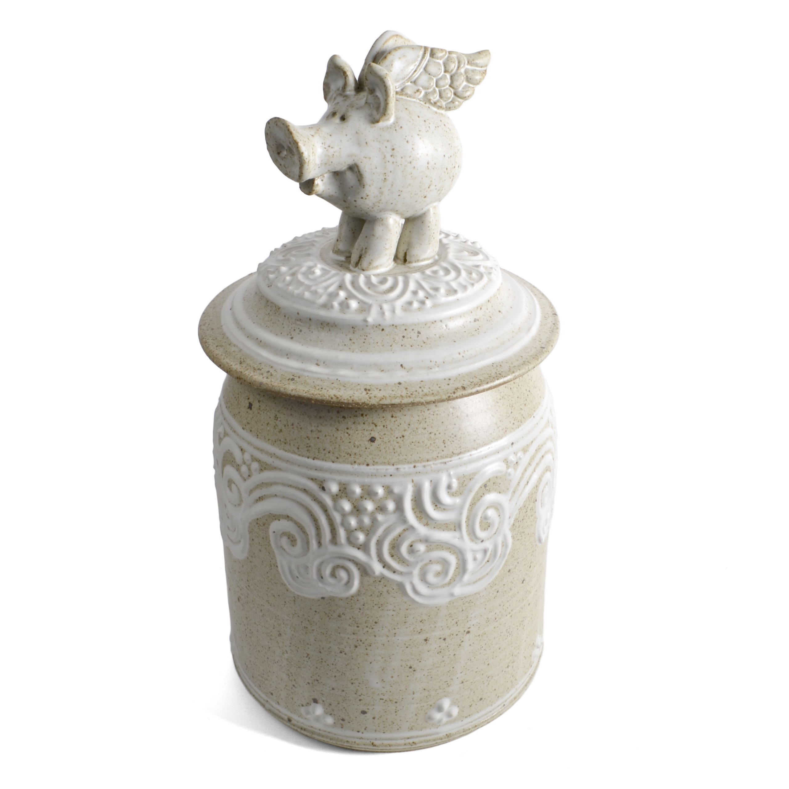 The Potters, LTD Flying Pig Cookie Jar, Stony