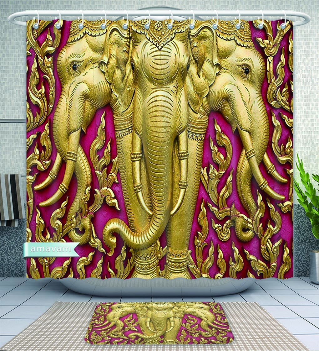 Amavam Bathroom 2-Piece Suit r Elephant Carved Gold Paint On Door Thai Temple Spirituality Statue Classic Image Magenta Golden Shower Curtain And Bath Rug Set, 79'' Wx71 H & 31'' Wx20 H by Amavam