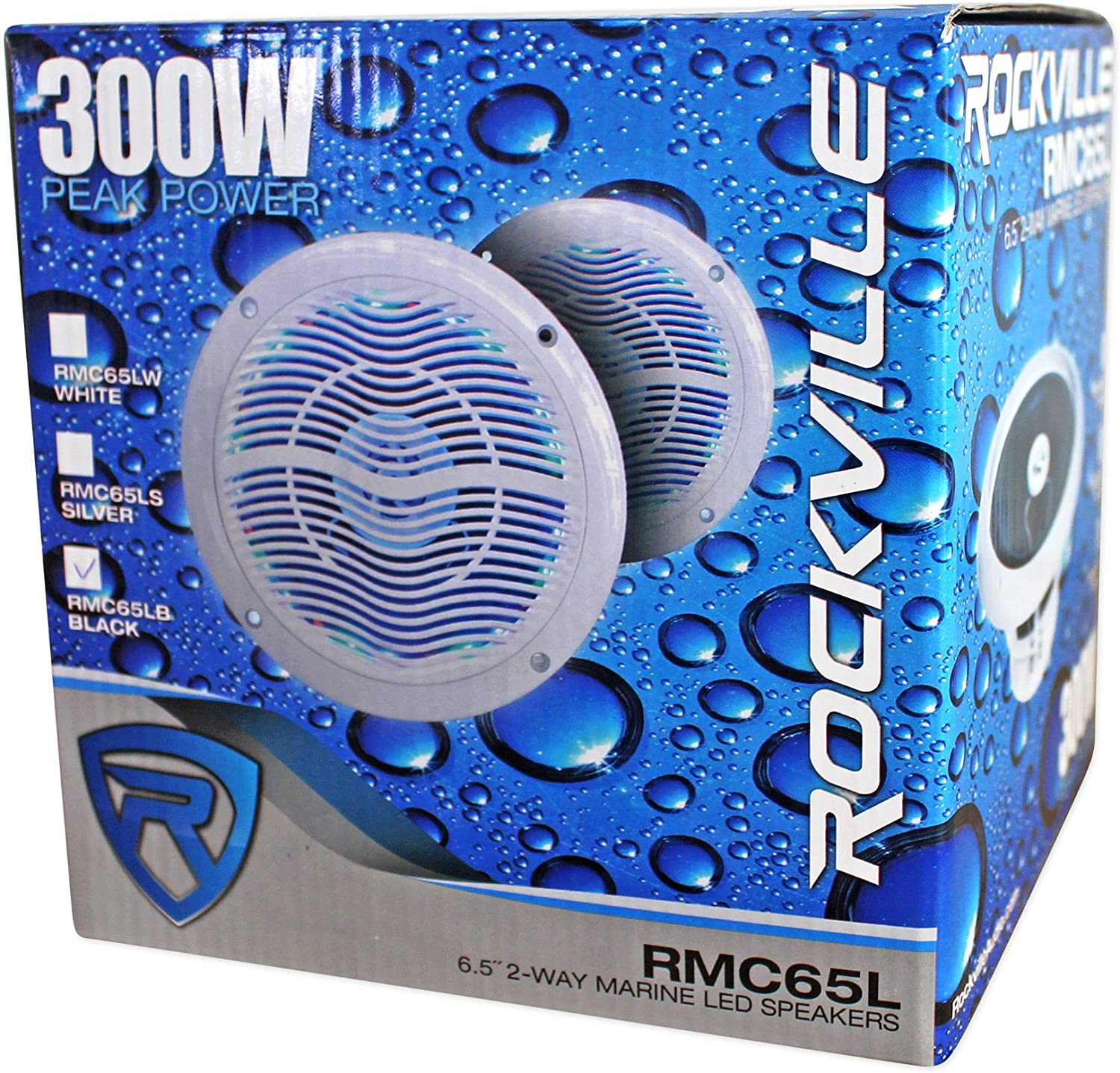4 Rockville RMC65LB 6.5 600w Black Waterproof Hot Tub Speakers w//LEDs+Remote