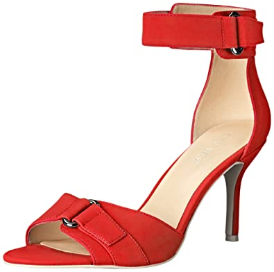 c191745b7 Amazon.com | Nine West Women's Gainey Synthetic Heeled Sandal, Red ...