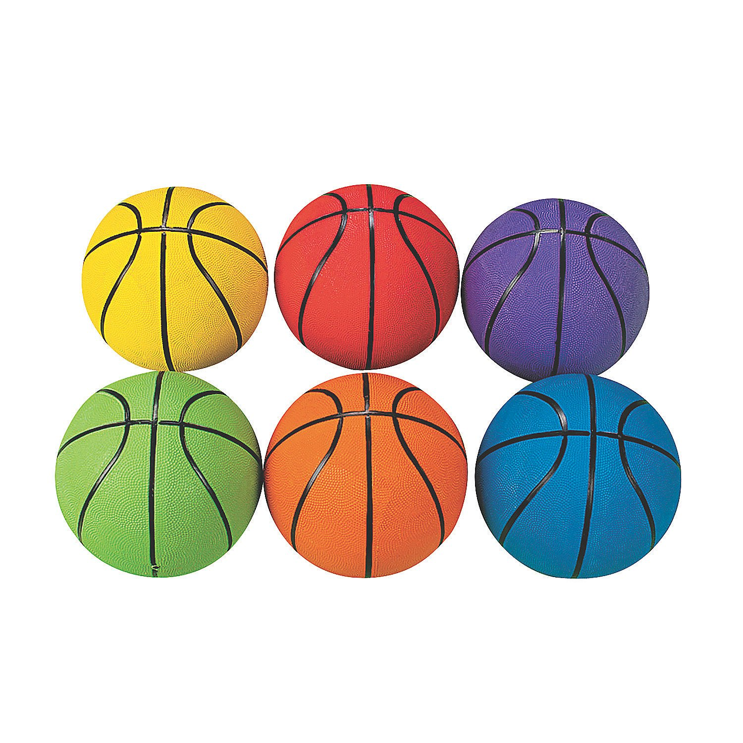 Fun Express - Rainbow Basketballs 6pcs - Toys - Balls - Playground Balls - 6 Pieces by Fun Express