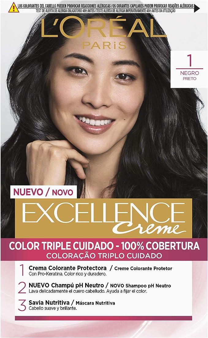 LOréal Paris Excellence Coloración Crème Triple Protección 1 Negro