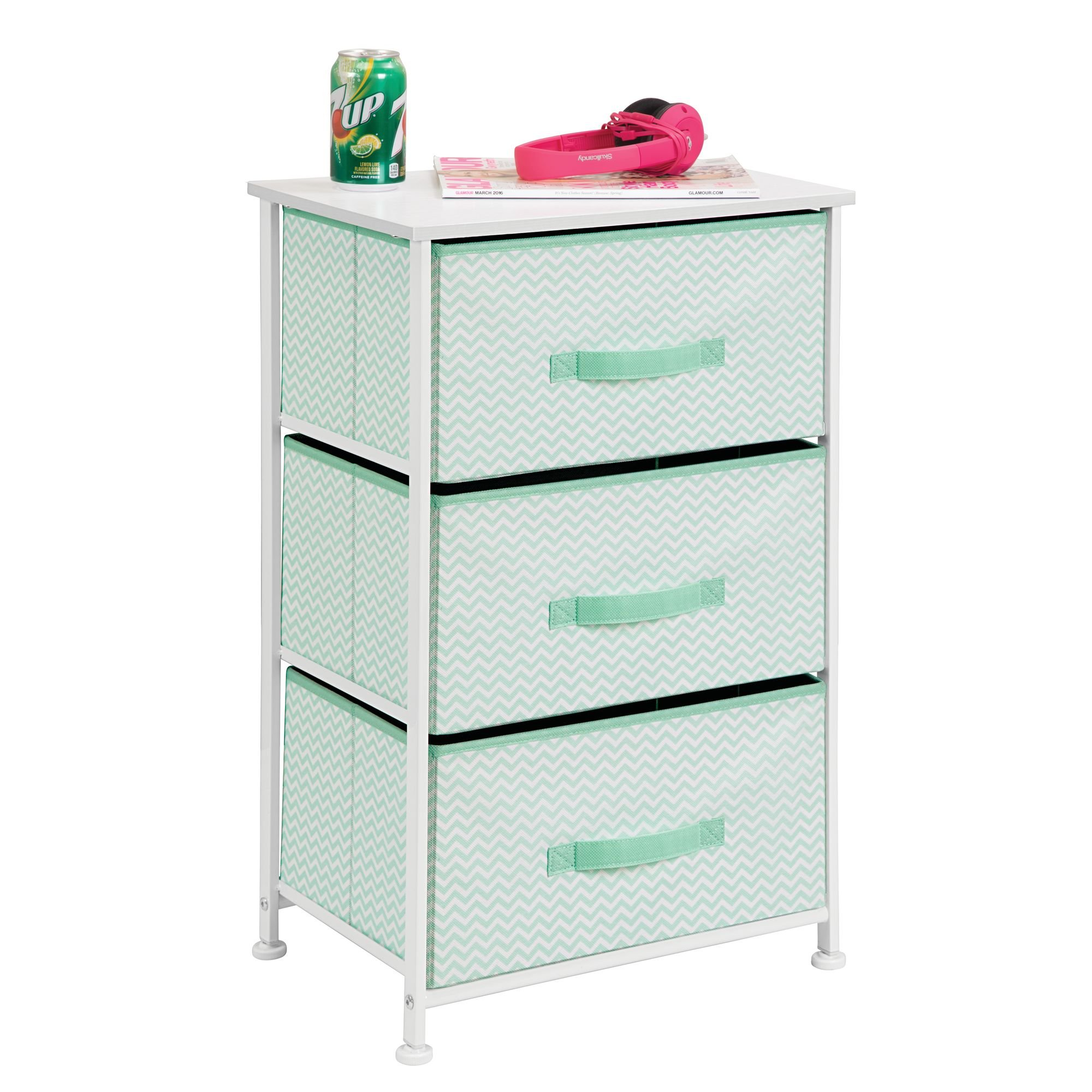 mDesign Vertical Dresser Storage Tower - Sturdy Steel Frame, Wood Top, Easy Pull Fabric Bins - Organizer Unit for Bedroom, Hallway, Entryway, Closets - Chevron Print - 3 Drawers, Mint/White by mDesign (Image #4)