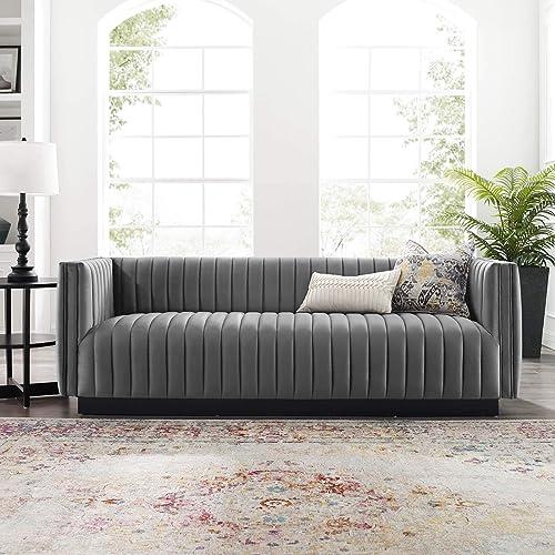 Modway Conjure Channel Tufted Upholstered Performance Velvet Sofa