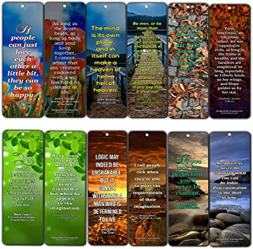 Creanoso Inspirational Avid Reader Reading Literary Quotes Bookmarks Six Bulk Assorted Bookmarks Designs Awesome Bookmarks for Bookworm 12-Pack Premium Gift Set