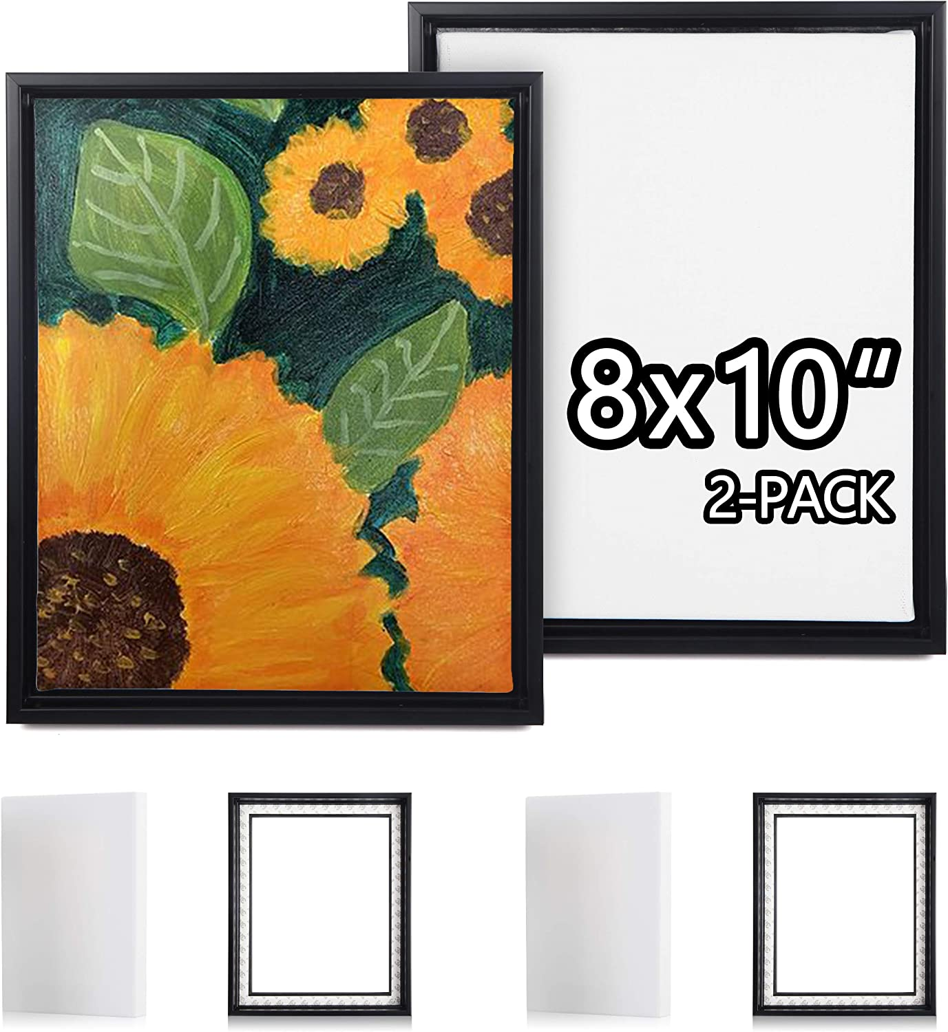 Picture Frame Set with Blank 8x10 Stretched Canvases with Floating Frames of 2 Pack, Studio Plastic Floater Frame for 2/3'' Deep Artwork & Canvas Print, Tabletop or Wall Gallery Display, Black