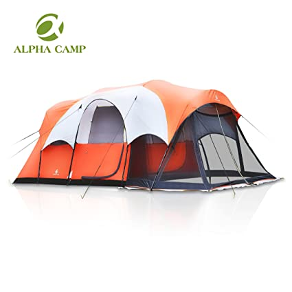 ALPHA CAMP Cabin Tent Family C&ing Tent with Screen PorchOrange/White - 6  sc 1 st  Amazon.com & Amazon.com : ALPHA CAMP Cabin Tent Family Camping Tent with Screen ...