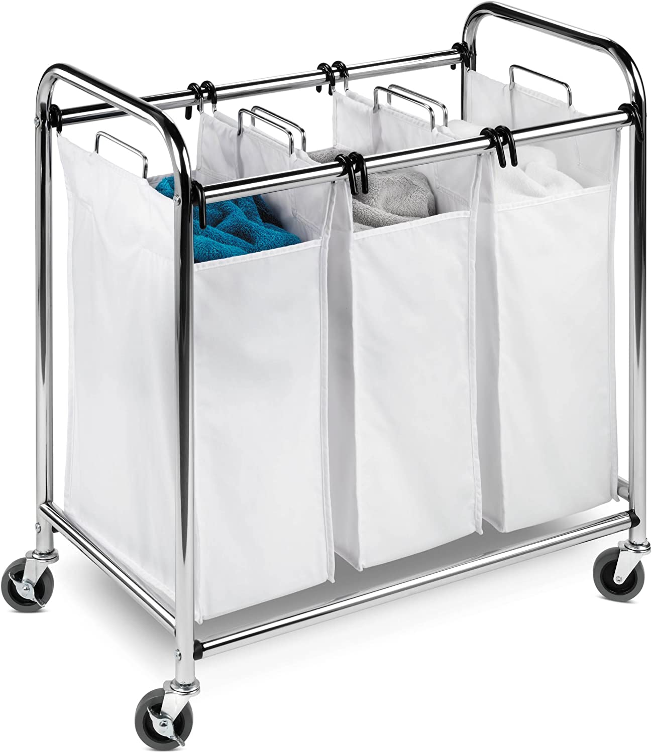 Honey Can Do Commercial-Grade Triple Laundry Sorter Clothes Organizer Storage