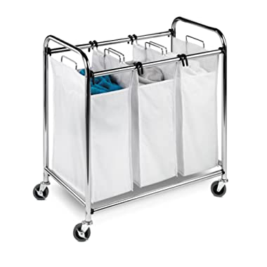 Honey-Can-Do SRT-01235 Heavy-Duty Triple Laundry Sorter, Chrome/White