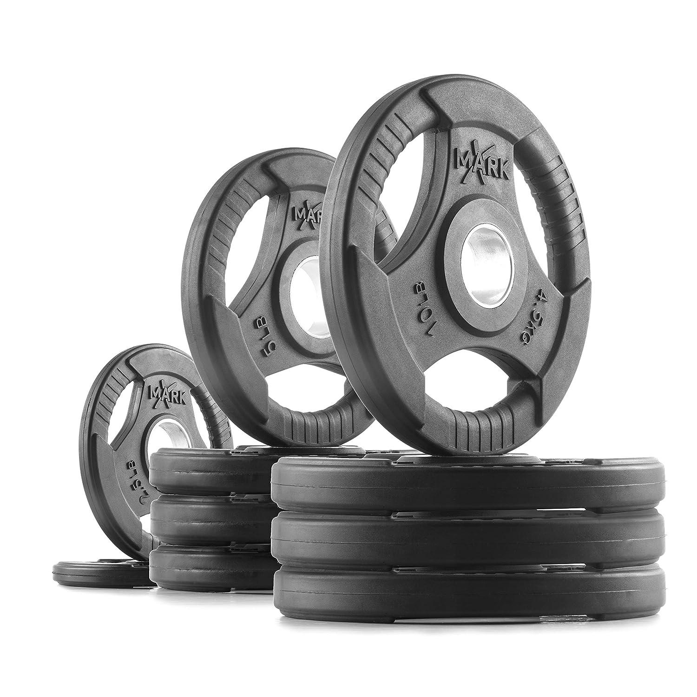 XMarkプレミアム品質ゴムコーティングtri-gripオリンピックプレートウェイト – Sold inセット 18) 65 lb Set