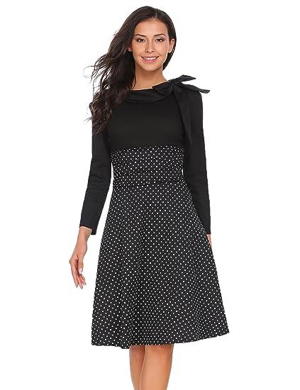 06115320ba626c Meaneor Damen 50er Vintage Rockabilly Kleid Elegant Abendkleid  Cocktailkleid Polka Dots Langarm Kleid Kontrastfarbe mit Schleife