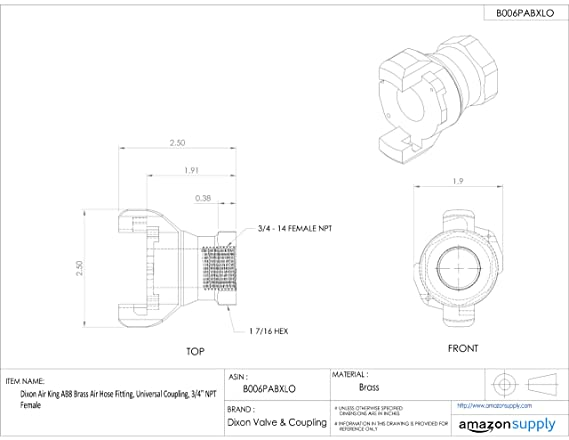 Dixon Air King Ab13 Brass Air Hose Fitting 2 Lug Universal Coupling
