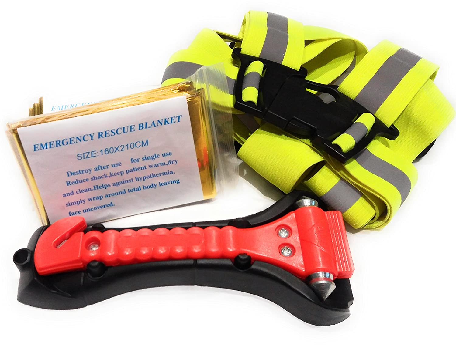 Car Emergency Kit – Best for Stay Safe with our 7 Piece Car Safety Set – Includes 1 Emergency Window Hammer, 2 Reflective Jackets and 4 Emergency Blankets by Quiet Park