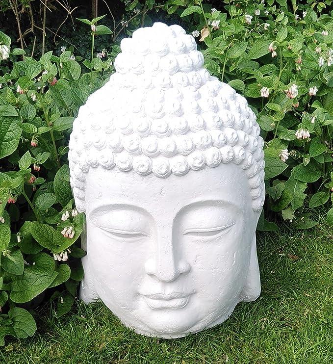 Sifcon International plc 61 x 40 cm Efecto Cabeza de Buda de Piedra Grande jardín Adorno de decoración para el hogar: Amazon.es: Hogar
