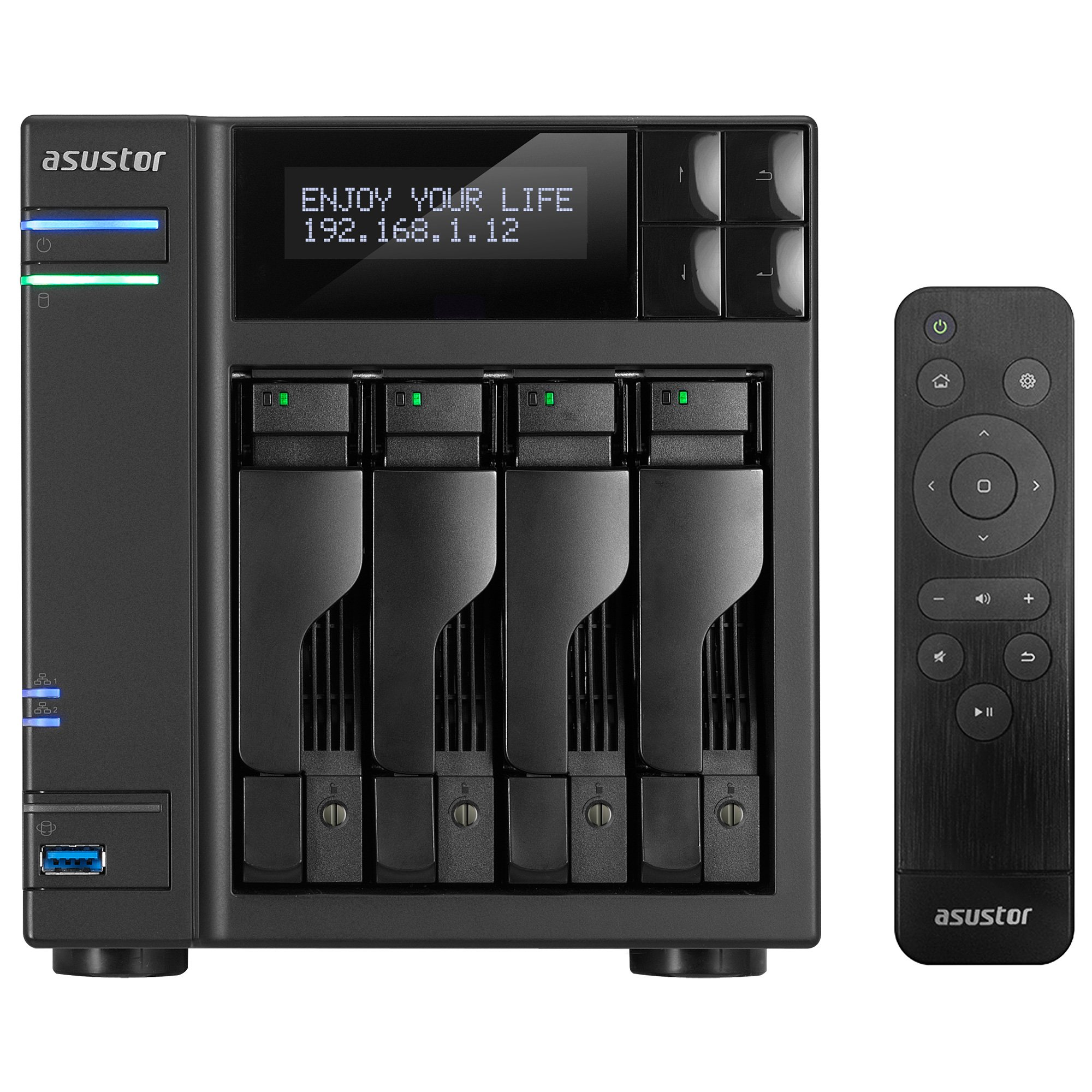 Asustor AS7004T-i5, 4-Bay NAS (Diskless), Intel 3.0GHz Quad-Core, 8GB RAM, Includes AS-RC13 Multimedia Remote