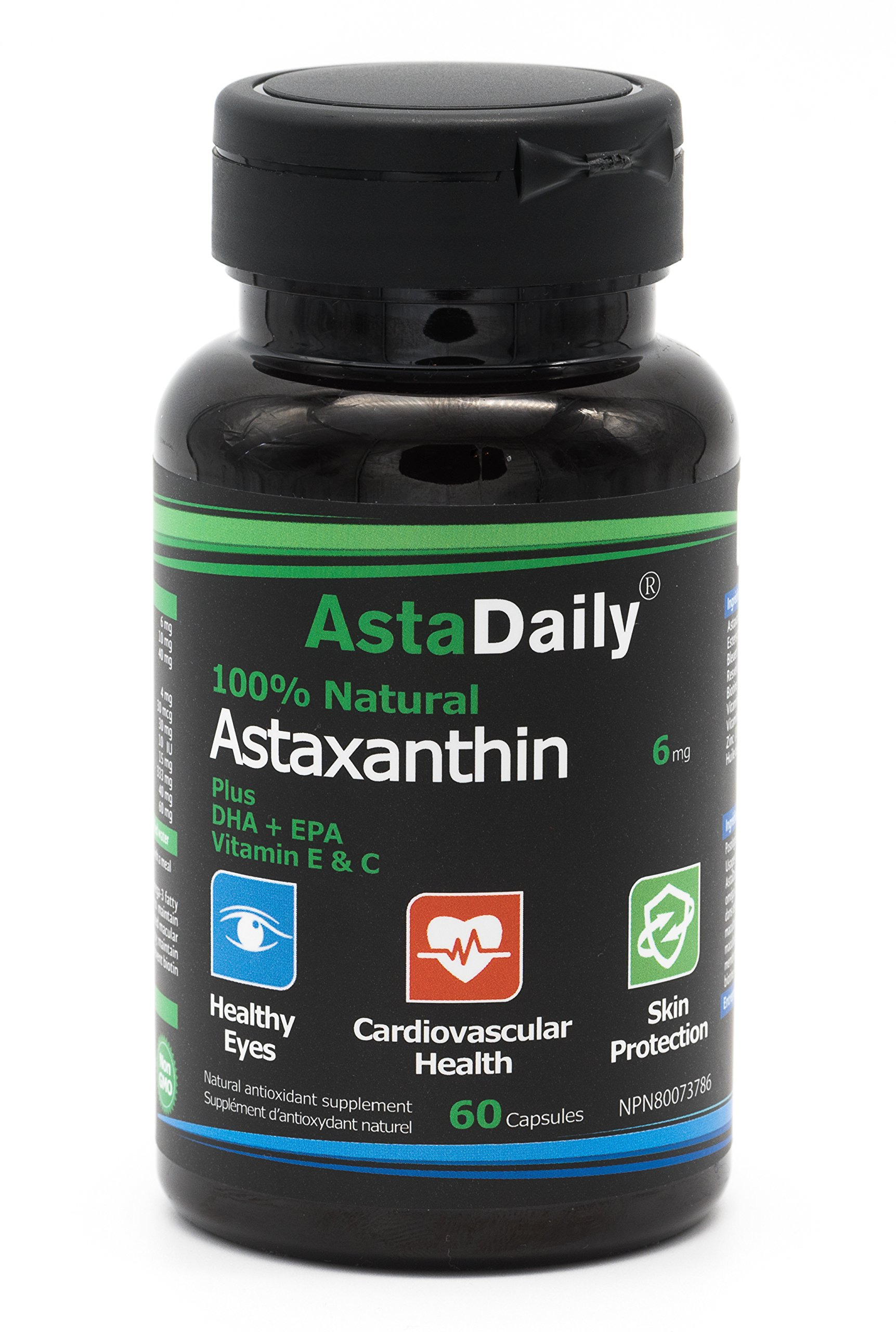 AstaDaily Premium softgel with Astaxanthin (12 mg Daily Dosage), Lutein, and Omega-3 Fatty acids