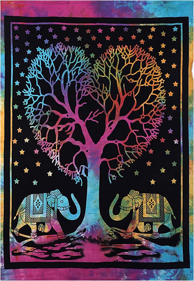 Indian Heart Tree Small Wall Hanging Poster Tapestry Cotton Nature Table Cloth