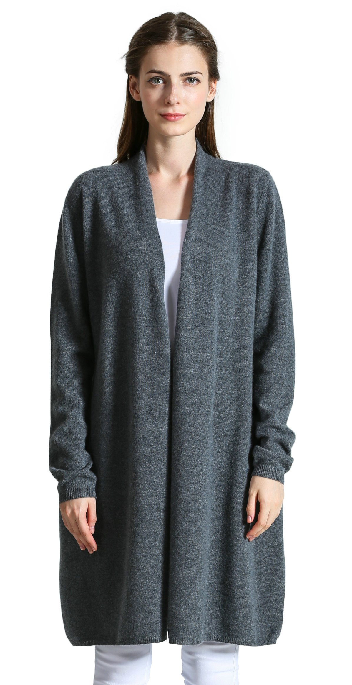 DYS CASHMERE Women's 100% Cashmere Long Style Open Frond Long Sleeve Sweater (Grey)