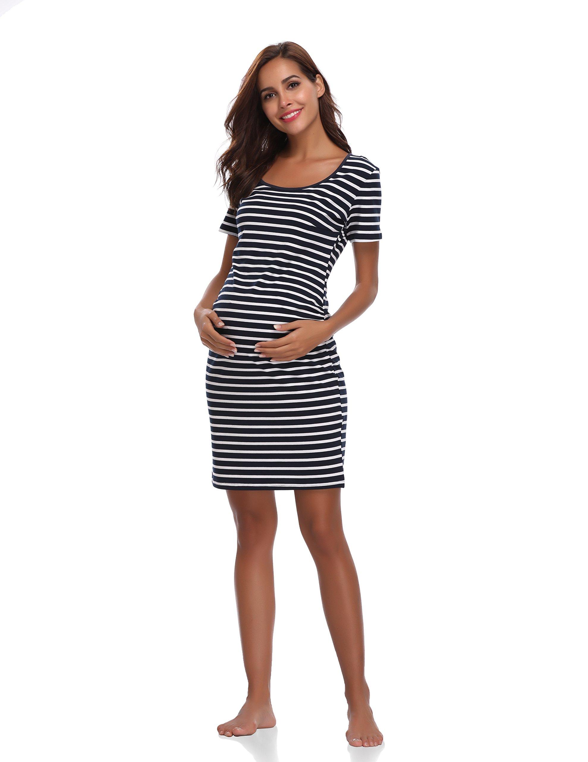 Floating Time Women's Short Sleeve Maternity Dress(S, Navy Stripes)
