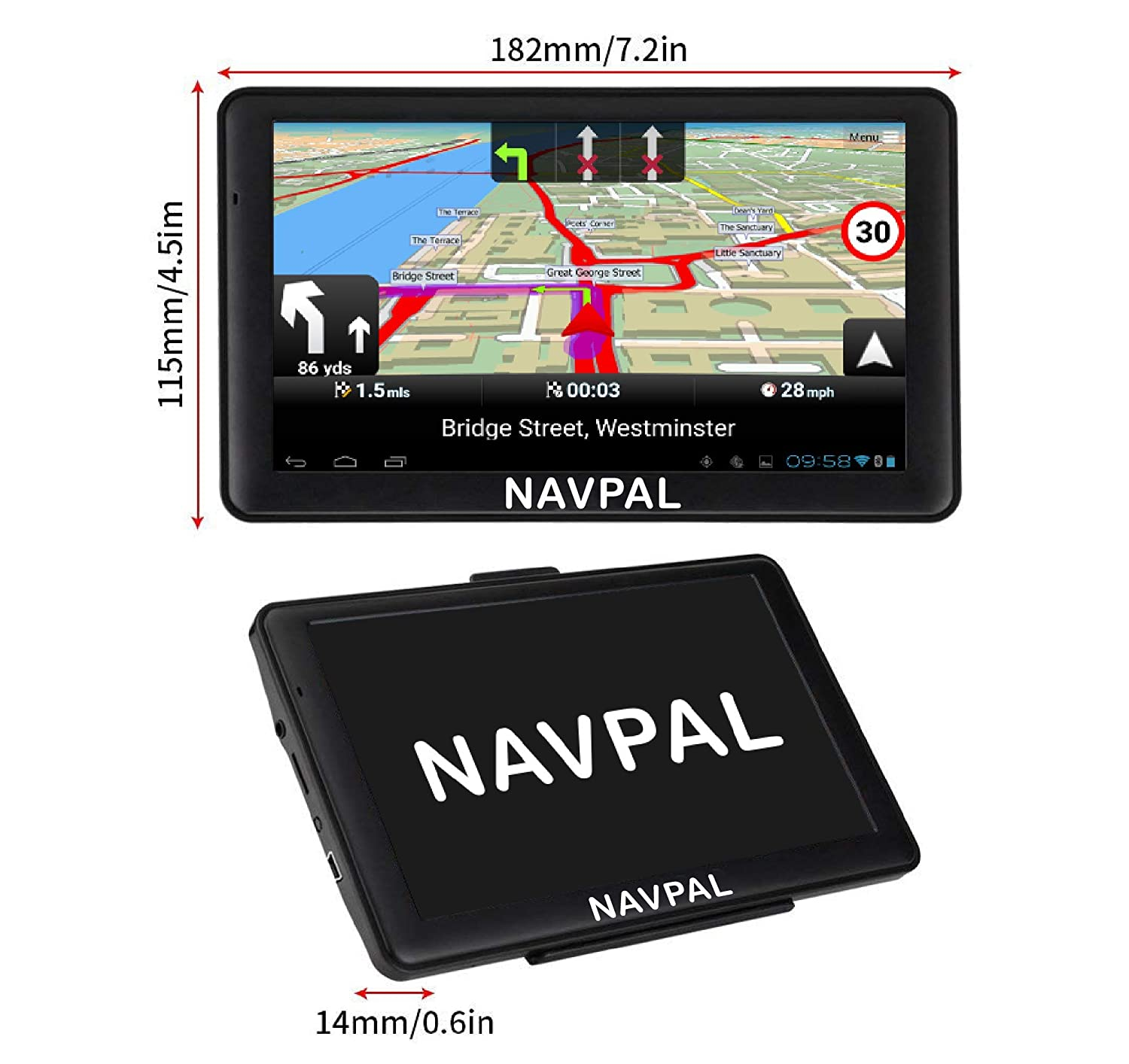 GPS Navigation for Car Truck Motorhome Includes Postcodes + FREE Lifetime Map Updates 7 Inch with Bluetooth Pre-Installed SLIMLINE SAT NAV Speed Camera Alerts /& POI 512MB 2019 UK EUROPE