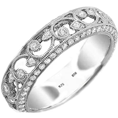 Ladies Ring-925 Sterling Silver Filigree Design Luxury Unique Wedding Engagement Ring zOQikcuFp