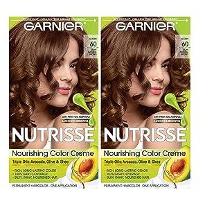 Garnier Hair Color Nutrisse Nourishing Creme, 60 Light Natural Brown (Acorn), 2 Count