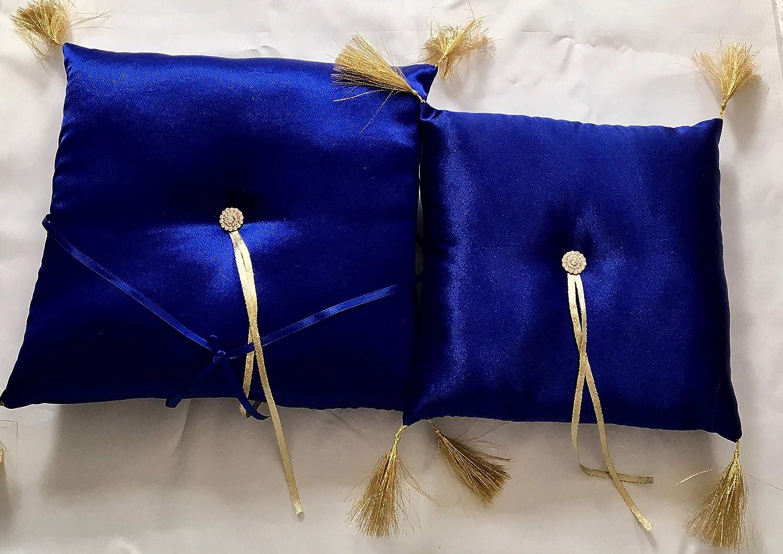 Dark blue with gold tassels sweet sixteen birthday quinceanera tiara kneeling show pillow
