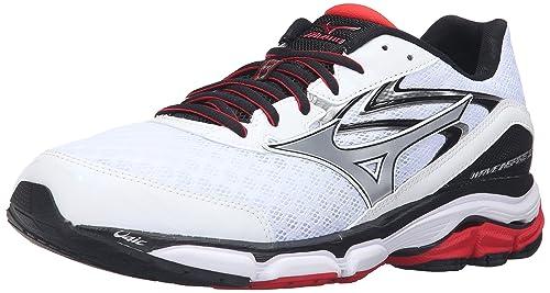 b0482a141417 Mizuno Men's Wave Inspire 12 Running Shoe, White/High Risk Red, 11.5 ...