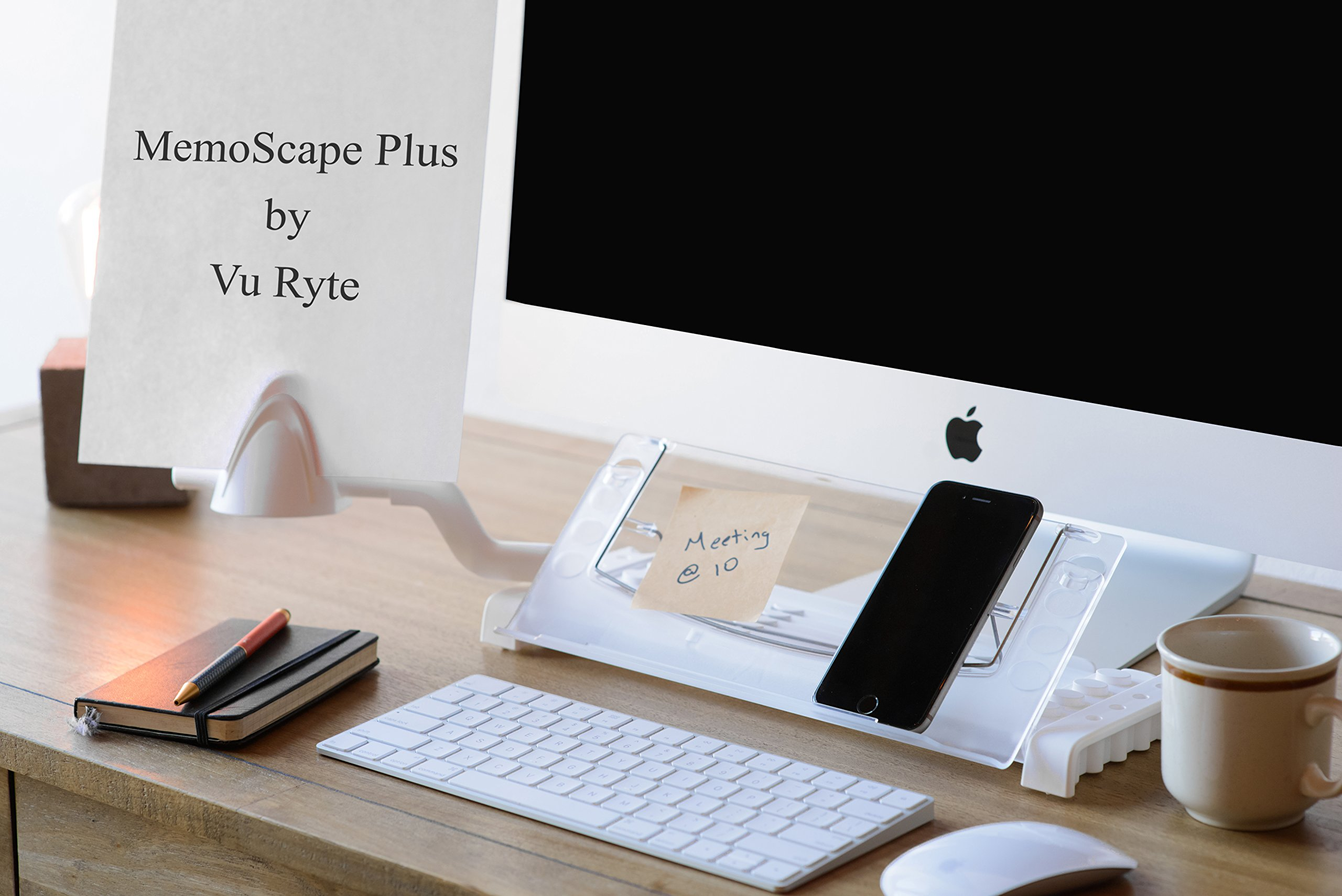 """Memoscape Plus, Personal Technology and Desk Organizer-Adjustable Ergonomic in-Line with Monitor Document Copy Holder Minimizing Head and Neck and Eye Movement, 12"""" Wide, White (VUR 2080)"""