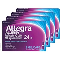 Allegra Allergy 24 Hour Gelcaps 180 mg 8 Count (Pack of 4) Long-Lasting Fast-Acting Antihistamine for Noticeable Relief from Indoor and Outdoor Allergy Symptoms