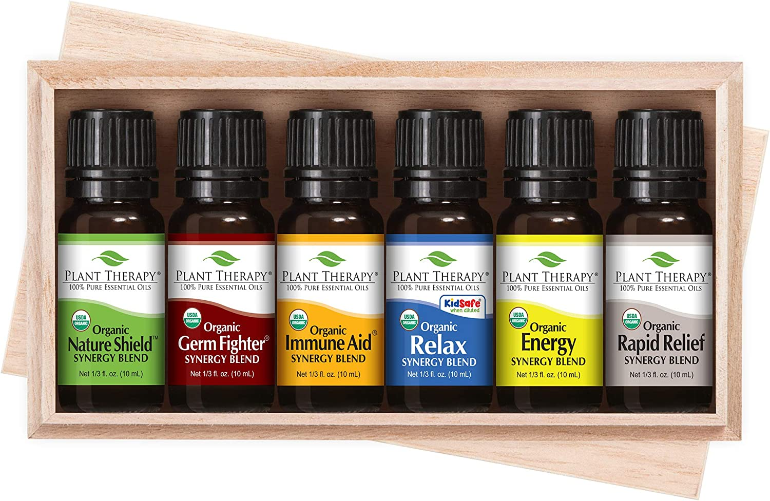 Plant Therapy Top 6 Organic Synergies Set - Essential Oil Blends for Sleep, Calm, Muscle Relief, Energy, Immunity, 100% Pure, Undiluted, Natural, Therapeutic Grade 10 mL (1/3 oz)