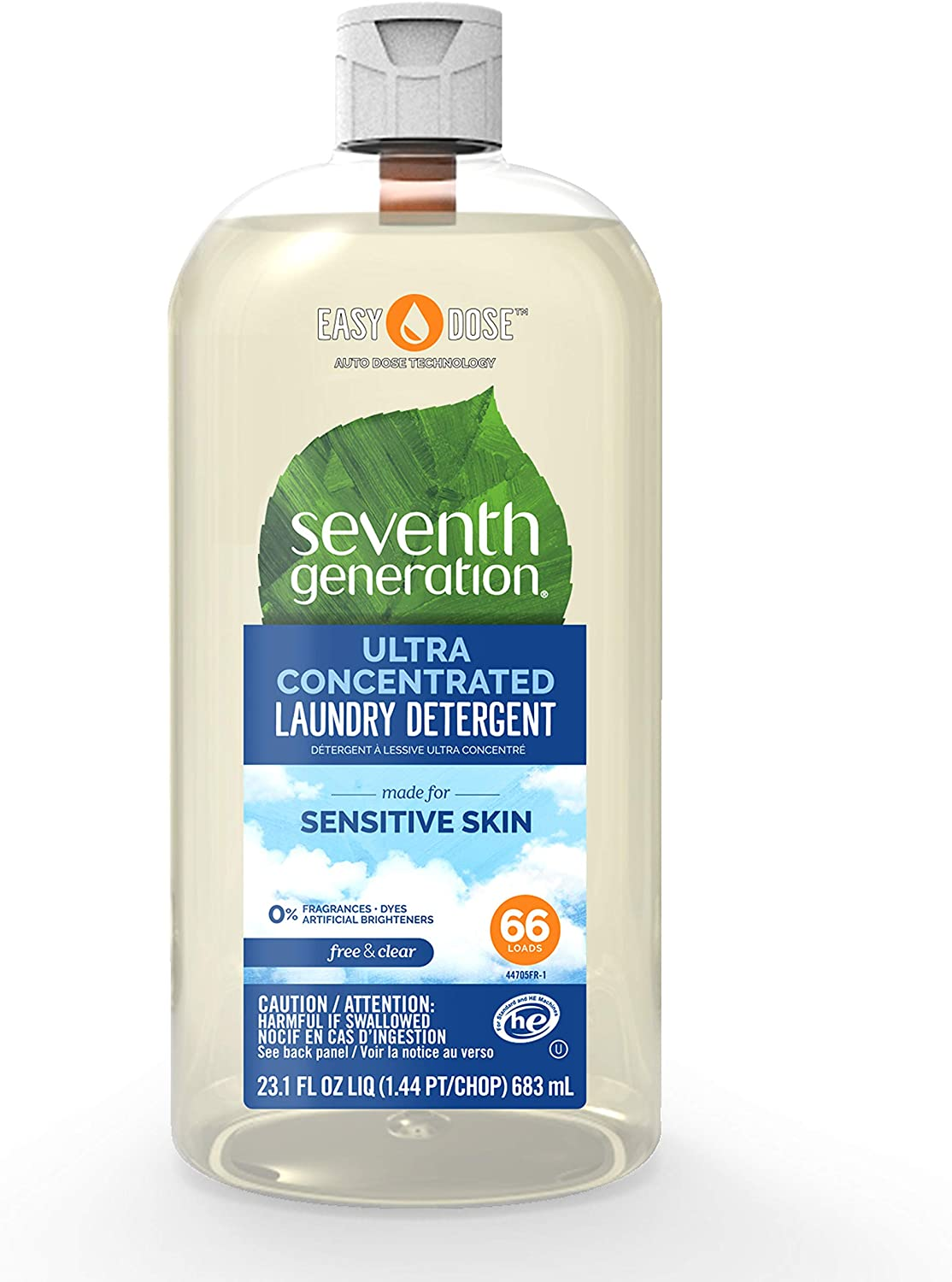 Seventh Generation Laundry Detergent, Ultra Concentrated EasyDose, Free & Clear, 23 oz (66 Loads)