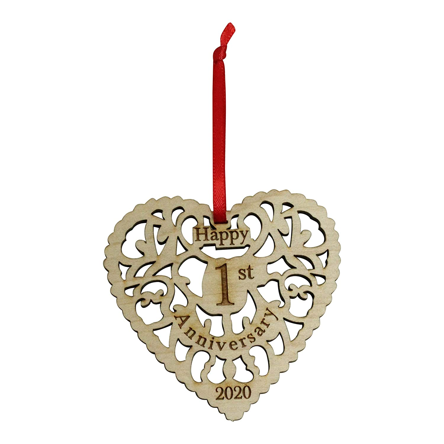 Buy Twisted Anchor Trading Co Anniversary Ornament 2020 Heart Shaped Happy Anniversary Ornament Beautiful Laser Cut Wood Detail Comes In A Organza Gift Bag So It S Ready To Give
