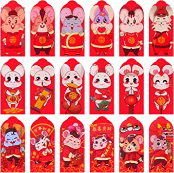 Adurself 36 Pieces 2020 Red Envelopes Mouse Year Lucky Money Pocket Spring Festival Money Packets Rat Red New Year Hong Bao 6.6 x 3.5 Inches 5 Styles Style B