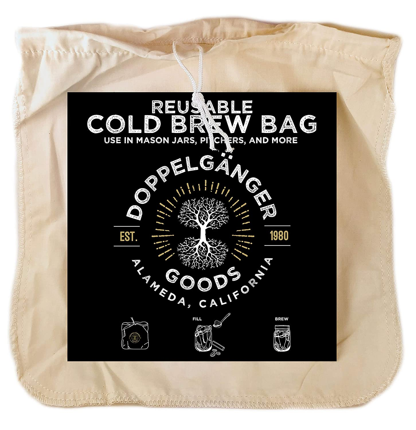 """Organic Cotton Cold Brew Coffee Bag - Designed in California - Extra Large 12""""x12"""