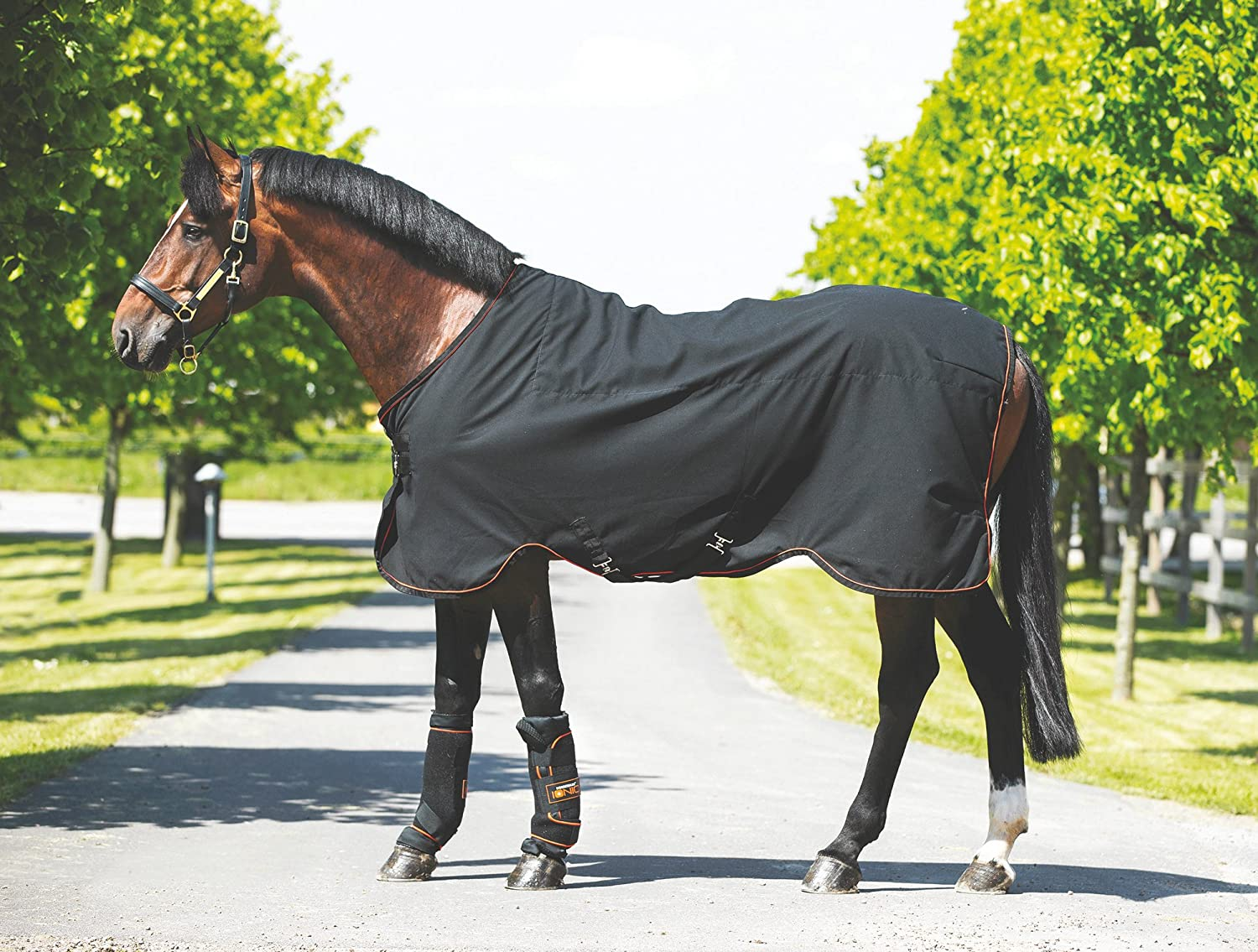 Horseware Rambo Ionic Stable Sheet - Black&Orange Stripe