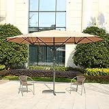 MYAL 14ft Patio Umbrella Double-Sided Patio Outdoor Umbrella Tan