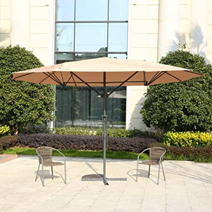 MYAL 14ft Patio Umbrella Double Sided Patio Outdoor Umbrella Tan