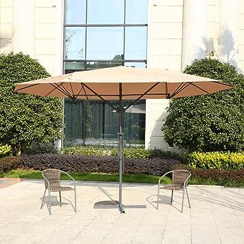 MYAL 14ft Patio Umbrella Double Sided Patio Outdoor Umbrella Tan