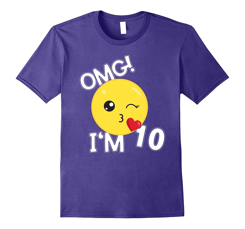 10th Birthday Kiss Emoji T-Shirt omg im 10 year old-Rose