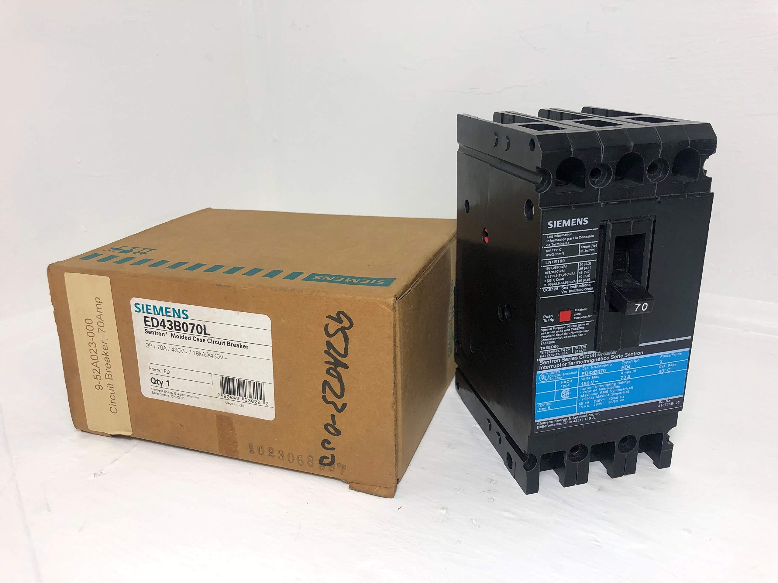 Siemens I-T-E ED43B070 70 Amp Circuit Breaker 480V Ground GF01ED60 ED4 ITE 70A by SIEMENS