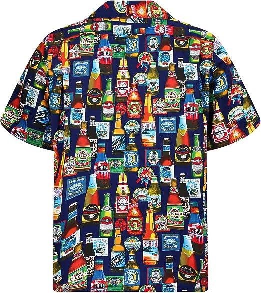 Pacific Legend | Original Camisa Hawaiana | Caballeros | S - 4XL | Manga Corta | Bolsillo Delantero | Estampado Hawaiano | Cerveza Flores Selva | Blanco y Azul: Amazon.es: Ropa y accesorios